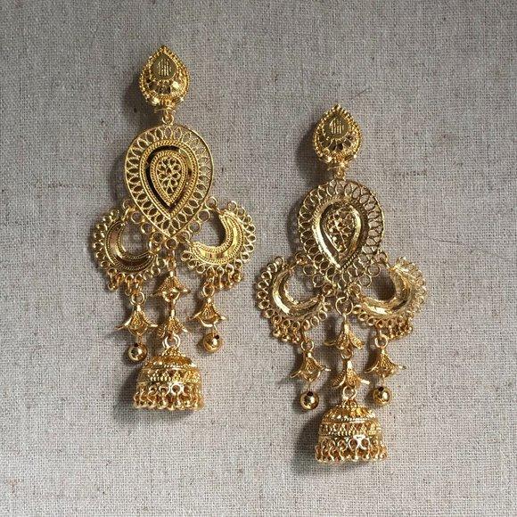 Indian Meenakari Bohemian Gold Teardrop Earrings